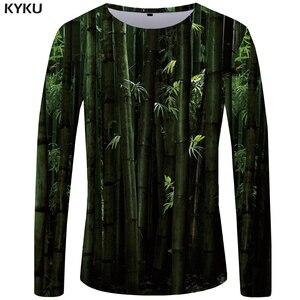 KYKU Brand Bamboo Forest T shirt Men Long sleeve shirt Chinese Style Printed Tshirt Green Japan Streetwear Cool Graphic(China)