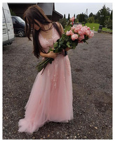 Smileven Pink Wedding Dress 2019 Appliques Bride Dresses With Crystal Backless Floor Length Wedding Bridal Gowns 2019