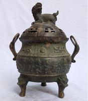 Китайские антикварные Ладан горелки коллекция Старый Бронзовый львиных дома art украшения металла Кадило