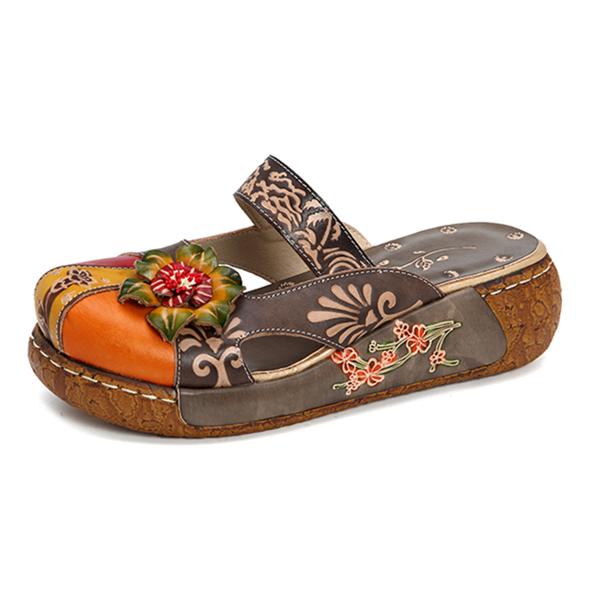 Johnature Retro Appliques Sandals 2019 New Genuine Leather Women Summer Ladies Shoes Woman Flower Bohemia Sandals