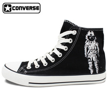 Women Men Converse All Star Man Woman Shoes Brand New Design Hand Painted Shoes High Top Black Sneakers Birthday Gifts