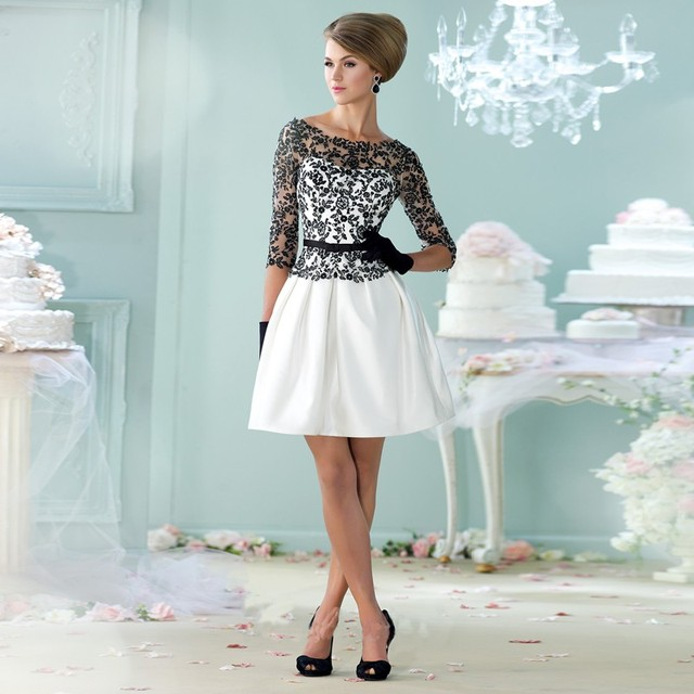 New Design Short Bridal Gown with Sleeves Scoop Neck Mini Skirt ...