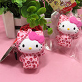 Sweet Pink Leopard Hello Kitty Doll Cute Squishy 5pcs/lot Wholesale Kawaii Cellphone bag Charm Strap Toys Licensed Tag #324