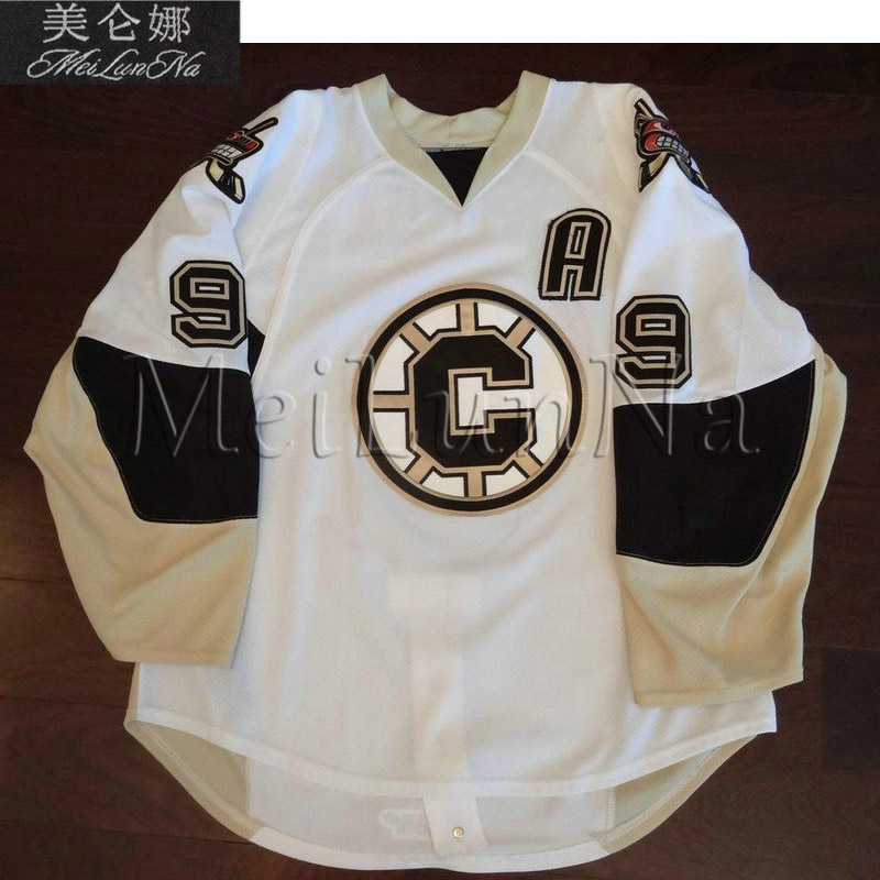 MeiLunNa Custom Hockey Bruins Jerseys Kevin Sundher Mark Santorelli Home Road White Black Red Sewn On Any Name NO. W