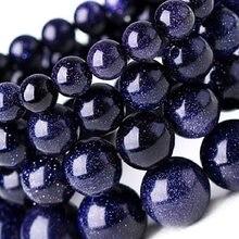 4mm 6mm 8mm 10mm contas de pedra natural contas de areia azul contas redondas de pedra solta para fazer jóias diy pulseira colar