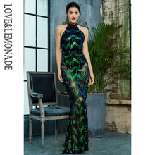 Love Lemonade Sexy Stand Green Wave Tassel Sequins Open Back Long Dress  LM81390(China) 0fe2749f7cb5