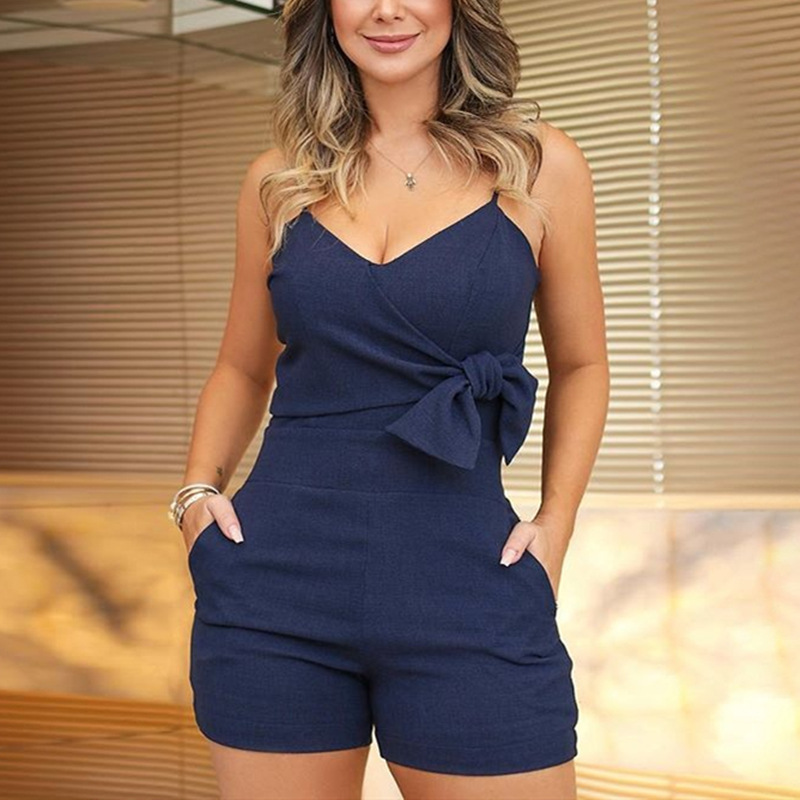 Women's Jumpsuit Romper Shorts Overalls Tailoring Slim Bow-Piece V-Neck Z335 Noodle-Belt