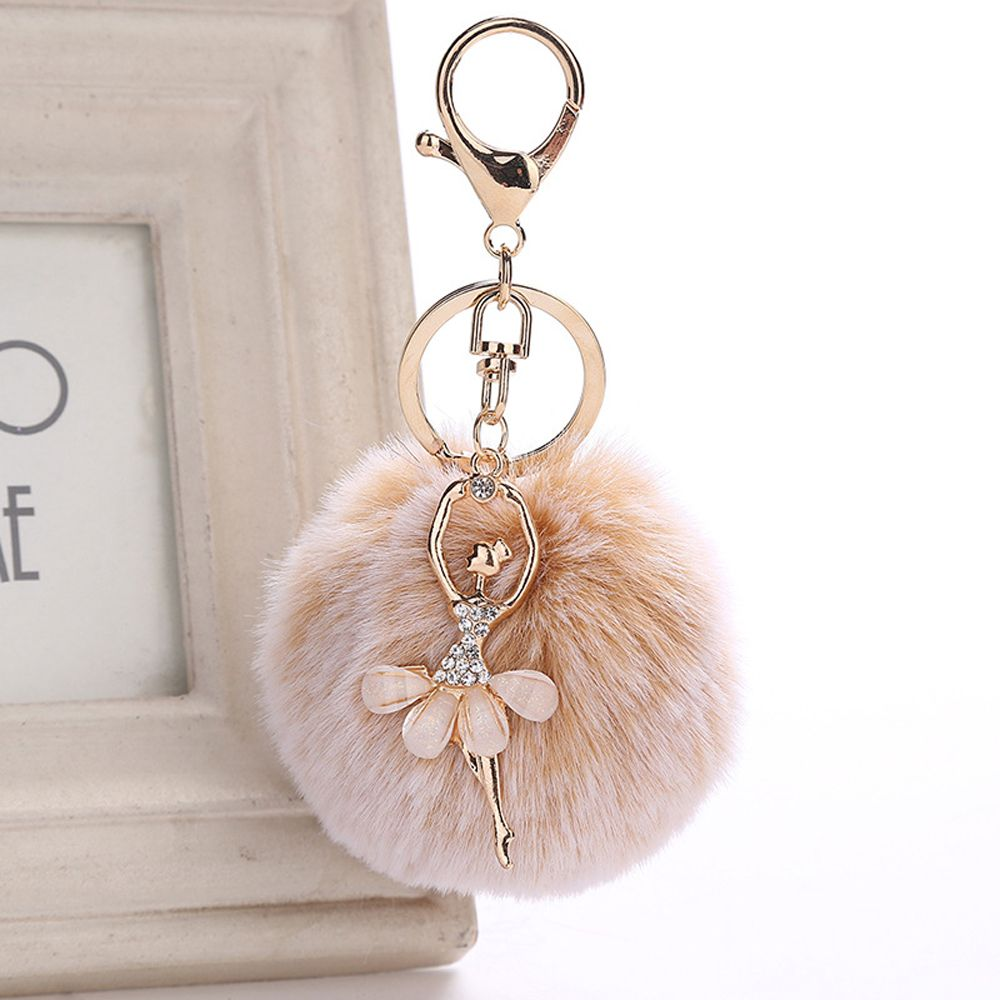 maxgoods Fluffy Pompom Ball Keychain Car Key Chain Ring
