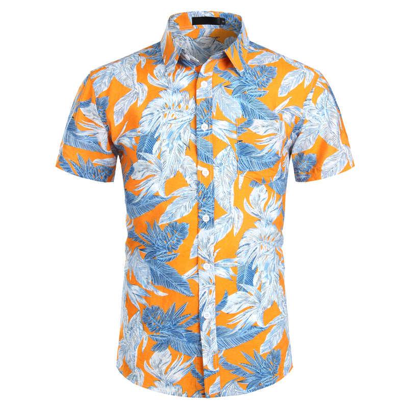 Мужские s Гавайские рубашки 2019 модные тропические пляжные гавайская рубашка мужская рубашка с коротким рукавом Aloha летняя Праздничная мужская одежда XXL