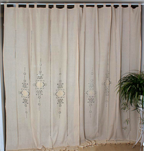 Linen Hollow Solid Curtain Handmade Crochet Bottom Stitching 70% Blackout Window Curtain Customizable for Living Room