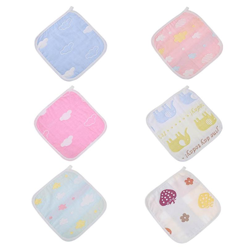 1pc 6 Layers Cotton Baby Wipe Towel 25 x 25cm Soft Handkerchief Absorbent Saliva Towel for Baby Girls Boys Face Washing Towels