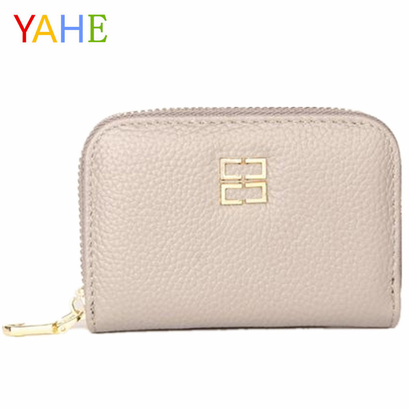 YaHe Women Card Holder Wallets Men Business ID Card Holders RFID Wallet Genuine Leather Coin Card Case Girls Fashion Small Purse rfid genuine leather flower print women id card holder card wallet credit card business card holder organizer coin purse dc331