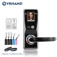 Fechadura eletrônica da porta de reconhecimento facial bloqueio de segurança digital touch screen keyless rosto inteligente fechadura da porta