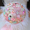 8-inch custom bridal bouquet,DIY brooch bouquet, pink handmade wedding bouquet, ostrich feather embellishment small flowers