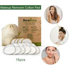 16pcs Reusable Makeup Remover Pads Discs Washable Cosmetic for All Skin Types
