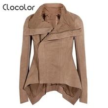 Clocolor Women Coats and Jackets for Autumn Irregular Long Sleeve Slim Women Jacket Turn down Collar Khaki Women Basic Coats XXL