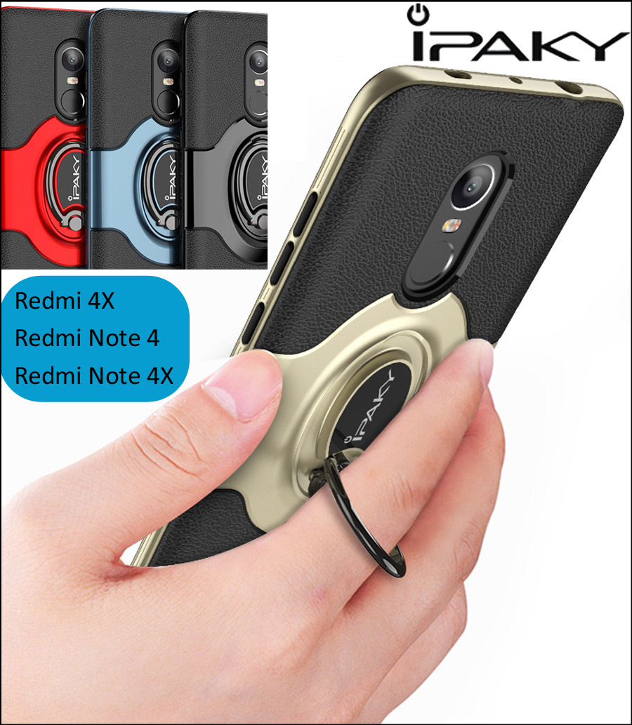 iPaky Ring Holder Case For Xiaomi Redmi Note 4X Note 4 Note4 Finger Grip Cover Magnetic Suction absorb On Car Holder Bracket