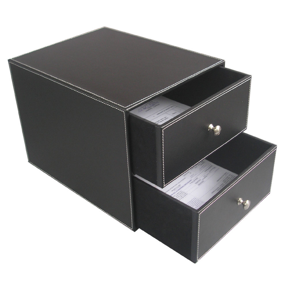 File box 2-Drawer 2-Layer PU Leather File Cabinet Desk Organizer Important Document A4 P ...