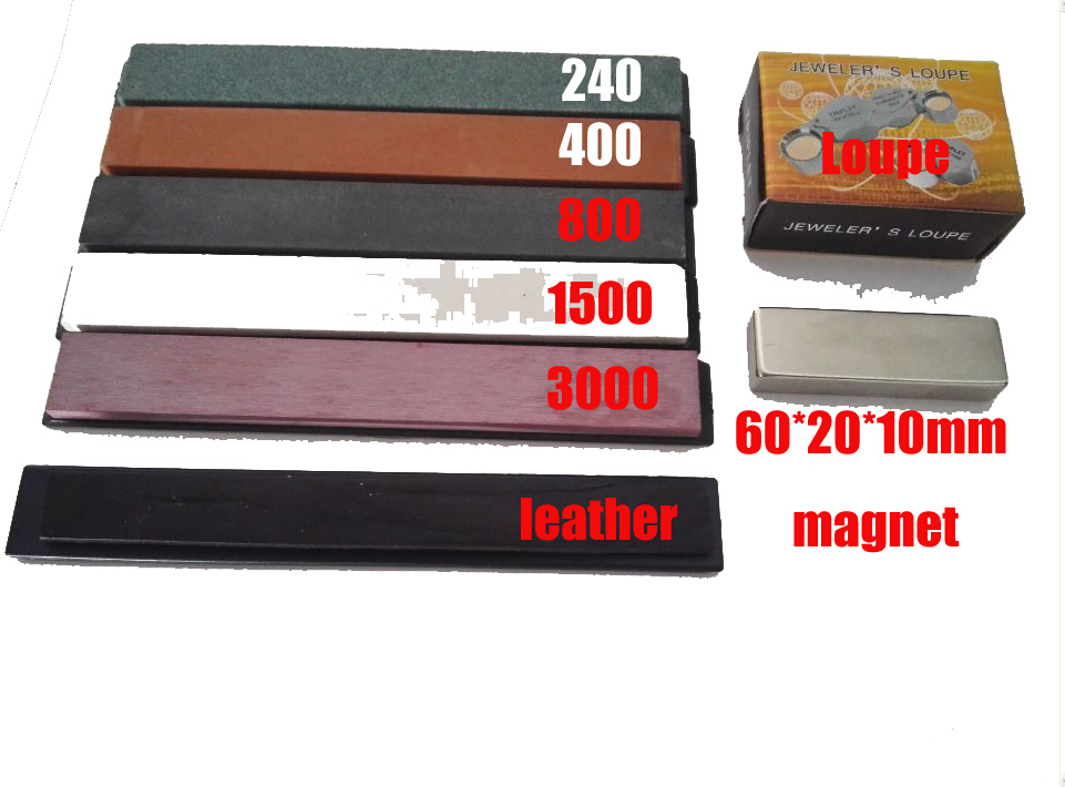 NO 3 Apex sharpener new edit whetstone set with leather + loupe+magnet 60*20*10mm