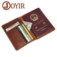 JOYIR Luxury Genuine Leather Men Passport Cover Passport Holder Travel Wallet Card Wallet Business Male Thin Credit Card Holder