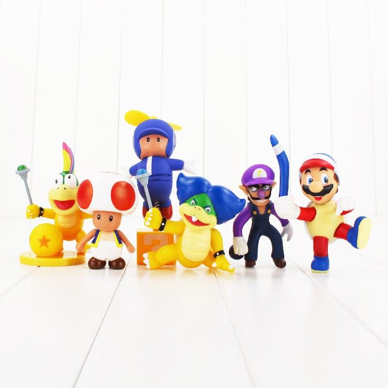 10Styles Super Mario Yoshi Luigi  Mario Toys Flying Mario,Toad Mushroom, Lemmy , Waluigi, Boomerang Turtle Mario Figure Toys 1