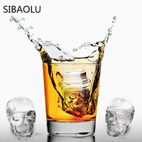 3 Cells Skull Mold Big Ice Cube Silicone Mold Cooking ToolsIce Tray Fruit Ice Cube Maker