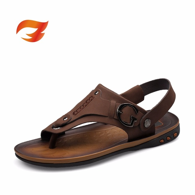 bba7affbb5eba New tide Korean style Leather sandals Men Exquisite handmade decorative  stitching Retractable cord Quality assurance Beach