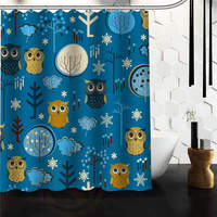 Stylish Fabric Bathroom Curtain Custom Cute Cartoon Owl In The Forest Shower Curtain 66 72 60