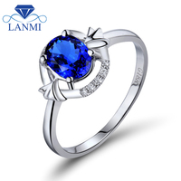 Solid 18K white Gold Blue Sapphire Wedding Rings Genuine Oval Natural Gemstone Diamond Jewelry for Women Party Luxury Gift