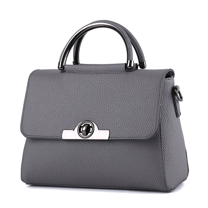 Dark Grey High Quality PU Women Handbag Cusual Office Lady Shoulder Bag Twist Turn Lock Crossbody Messenger цена