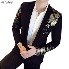Gold Black Blazer Flower Gold Print Party Wedding Festival Stylish Blazers For Men
