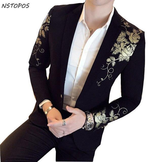 Oro Negro Blazer flor oro boda fiesta Festival elegante chaquetas para  hombres trajes de teatro para 217e8a2b5be