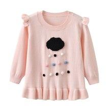 Auro Mesa Kids Girls Black Clouds Rains Pullover Sweater Long Sleeve Crew Neckline Cotton Sparkle Ruffle Pink Sweater 6M-3Y