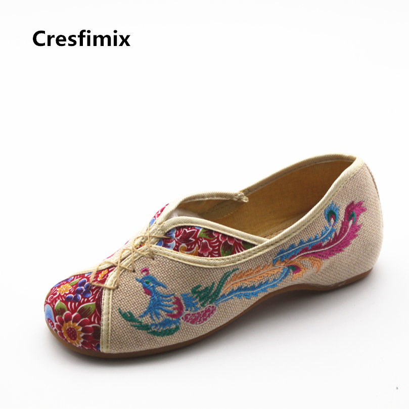 Cresfimix zapatos de mujer women casual phoenix printed spring & summer loafers female cute beige & black dance flat shoes cresfimix zapatos de mujer women casual spring