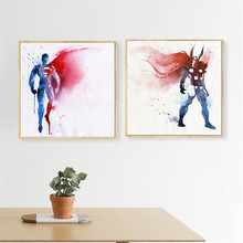 Famous USA Movie Star Super Hero Cartoon Painting Superman Loving Girl Wall Art Canvas Nordic