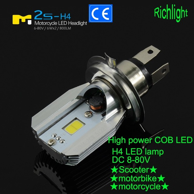 6000k 6w led h4 motorcycle hi lo moto bulb easy replace. Black Bedroom Furniture Sets. Home Design Ideas