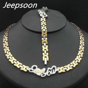 Jeepsoon Silver Necklace And Bracelet Jewelry Set