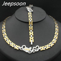 Hot Sell Wholesale Newest Fashion Stainless Steel Metal Silver and gold color Heart Necklace And Bracelet Jewelry Set SFKJAVFI