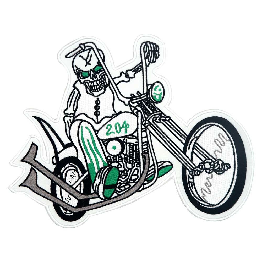LARGE SKILL MOTORCYCLE BACKING Embroidered punk biker Patches Clothes Apparel Accessories Badge