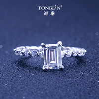 TONGLiN wholesale lots bulk stackable rectangle zirconia ring 925 sterling silver woman engagement rings big halo ring gift