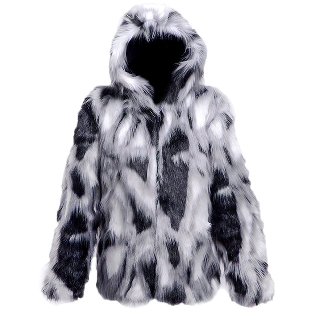 2017 Men Fur Coat Black White Gray Mix Environmental Protection Fur Blending Color 5XL Warm Cashmere Hooded Collar Feather MT325