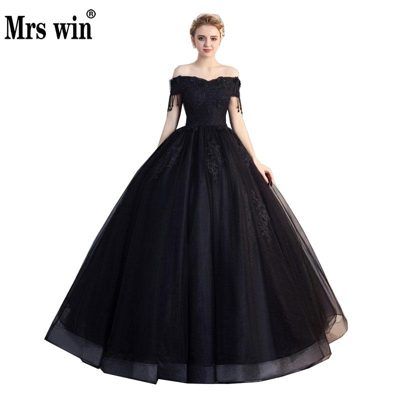 Mrs Win Quinceanera Dresses The Prom Short Sleeve Classic Off The Shoulder Noble Appliques Ball Gown Party Prom Formal Dress
