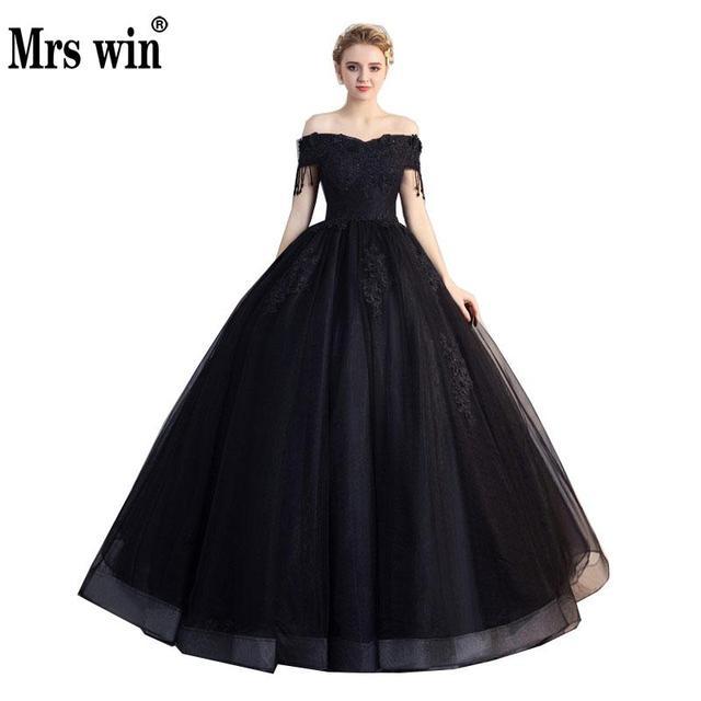 Pani Win Quinceanera sukienki Prom z krótkim rękawem klasyczna Off The Shoulder szlachetna suknia balowa z aplikacjami Party wieczorowa suknia na studniówkę