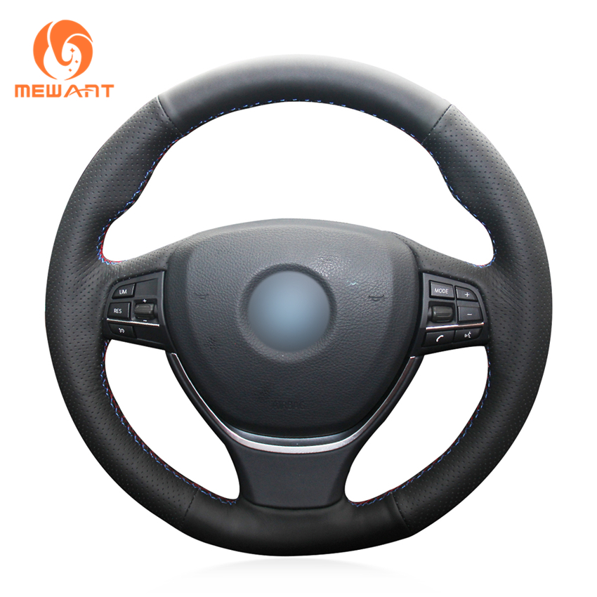 MEWANT Black Artificial Leather Car Steering Wheel Cover for BMW F10 2014 520i 528i 2013 2014 730Li 740Li 750Li
