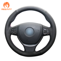 MEWANT Black Artificial Leather Car Steering Wheel Cover for BMW F10 F11 (Touring) F07 (GT) F12 F13 F06 F01 F02