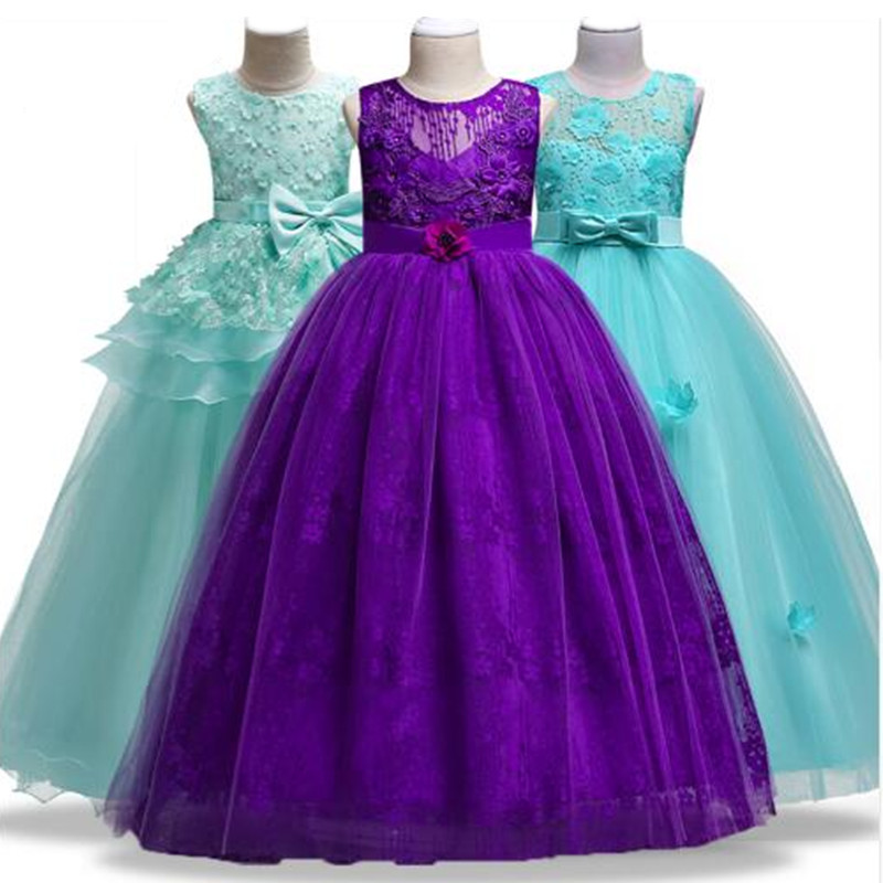 Flower Girls wedding dress for Christmas party sleeveless girls clothes Chiffon Christmas custume 3 4 5 6 7 8 9 10 11 12 years kids 2017 new summer big flower chiffon girl dress sleeveless solid color dress 3 4 5 6 7 8 9 10 11 12 years baby girl clothes