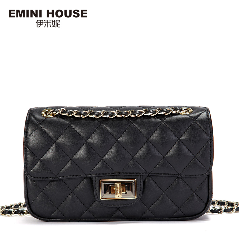 EMINI HOUSE Diamond Lattice Genuine Leather Shoulder Bag Women Messenger Bags Luxury Fashion Chain Bag Mini Crossbody Bags fashion sheepskin mini women bag retro small fragrant bag chain diamond lattice small shoulder bags hasp women messenger bags