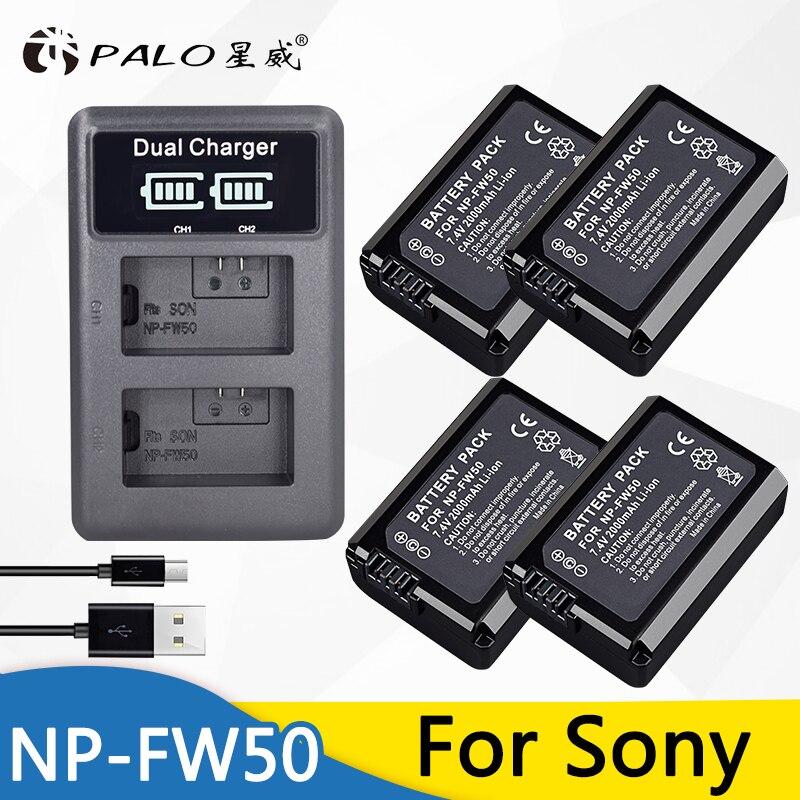 4 Unid NP-FW50 NPFW50 batería Cámara + LCD cargador Dual USB para Sony A6000 5100 a3000 a35 A55 a7s II alfa 55 alpha 7 A72 A7R Nex7 NE