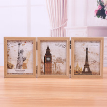 CreativeThree-Fold Photo Frame Table Vintage 5 Inch-6-7-8 Inch Three-Sided Folding Home Decor Wedding