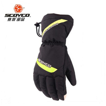 2018 New Weaterproof SCOYCO Motorcycle Glove MC41 winter warm Motorbike gloves made of taslan cotton index finger touch screen
